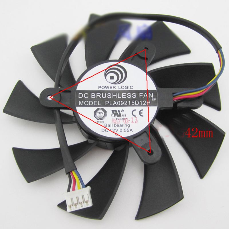 FOR Powercolor PLA09215D12H 87mm HD7800 HD7870 Video Card Fan 4pin 4pin mgt8012yr w20 graphics card fan vga cooler for xfx gts250 gs 250x ydf5 gts260 video card cooling