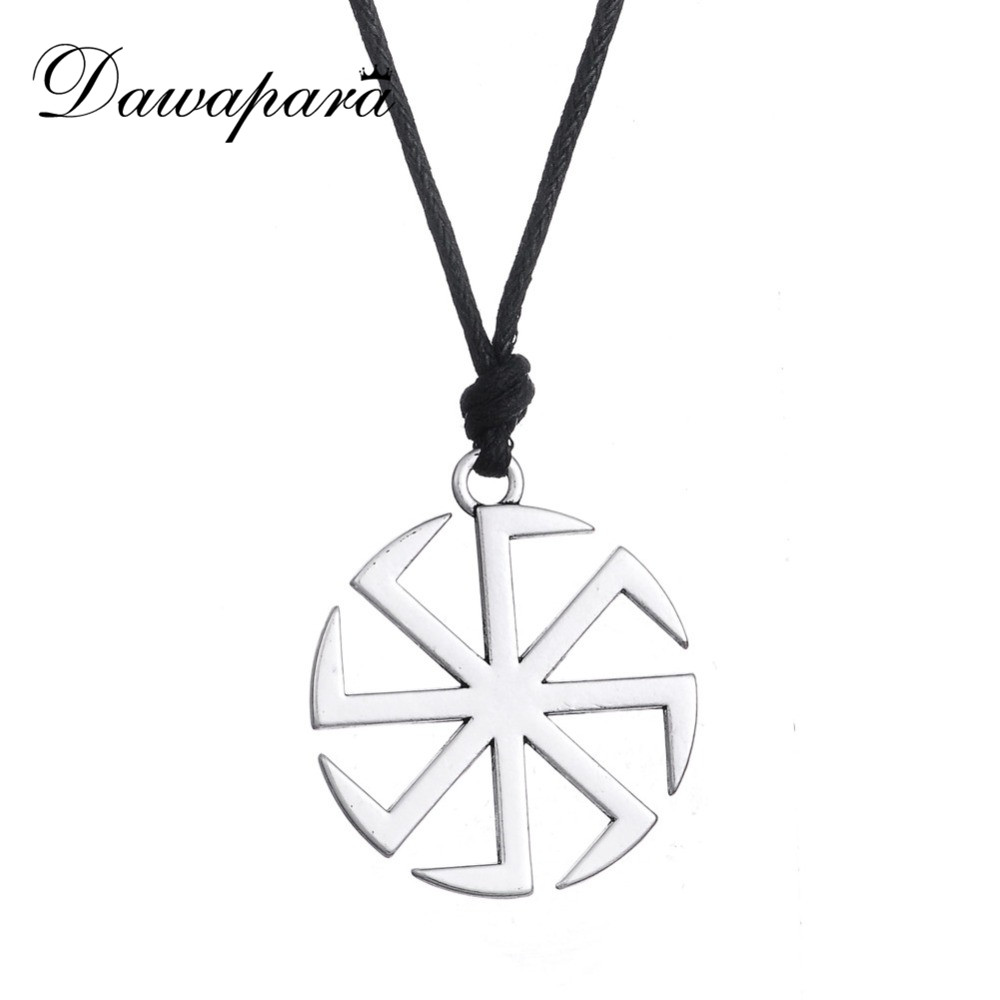 Dawapara Hollow Slavic Symbol Pattern Pendant Necklace Adjustable Long Chain Religious Fashion Jewelry for Men and Women