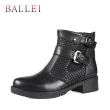 BALLEI Fashion Lady Ankle Boot Vintage Genuine Leather Retro Round Toe Soft Square Heel Classic Buckle Warm Short Plush B17