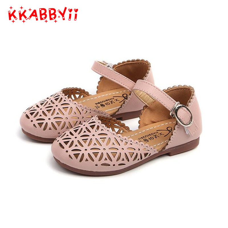 Children Shoes Girls Sandals 2018 Summer Fashion Cutout Princess Girls Flat Soft Closed Toe Kids Sandal Girls Shoe EU 21-35