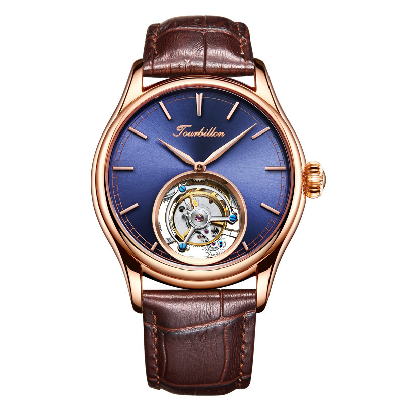Top Brand Mens Mechanical Watches Luxury 24K Gold Vacuum Plating Genuine Leather Belt Original Tourbillon Mechanical