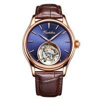 Top Brand Mens Mechanical Watches Luxury 24K Gold Vacuum Plating Genuine Leather Belt Original Tourbillon Mechanical Men Watches