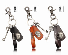 Cool Rock Leather Key Chain Keychains Lobster Clasp Genuine Leather Keychains 2016 Metal Men Key Chain Charm Key Holder Ring