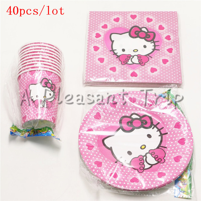 40pcs Lot Pink Hello Kittens Theme Kids Like And Gifts Birthday Party Decorations 10 People