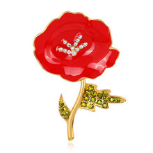 Baru Hot Sale Merah Poppy Bunga Bros Pin Fashion Retro Perhiasan Bros Kerah Perapi Pakaian Pin(China)