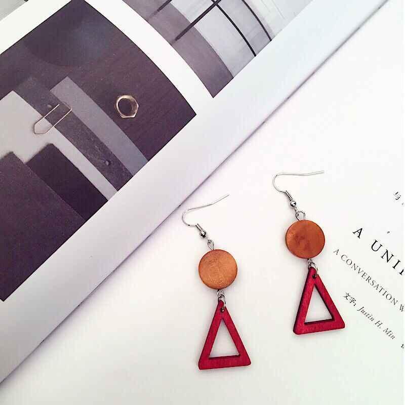 Новые Модные Простые геометрические серьги, деревянные серьги со звездами для женщин, крючки для ушей, серьги рождественские новогодние подарки