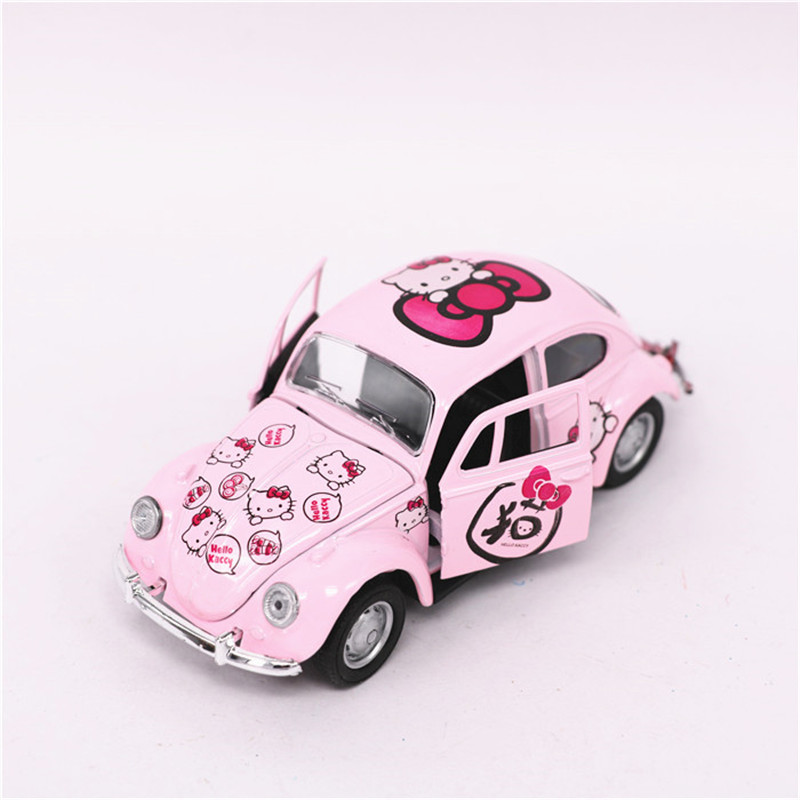 Hello Kitty Beetle Car Toy, Alloy & ABS KT Cat Cars Model, Mini Pink Kitten Beetle Models, Pull Back, Kids Toys, Brinquedos