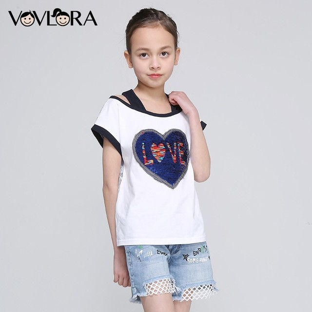 Girls T Shirt Tops Heart Double Sequins Striped Kids Cotton T Shirts Letter Children Clothing Summer Size 9 10 11 12 13 14 Years