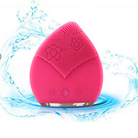Electric Facial Cleaning Massage Brush Sonic Vibration Face Wash Cleanser Machine Waterproof Silicone Black Deep Pore