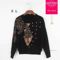 2017 Luxury Runway New Fashion Blue Heavy Embroidery Flowers Sweater Crystals Beading Knitwear Women Sweaters Pullover AW360