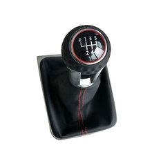 5 Speed 6 Gear Car Gear Shift Knobs Stick Handle With Gaitor Covered Leather Knob For VW GOLF 7 Mk7 2013 2014 2015 2016 2017- цена 2017