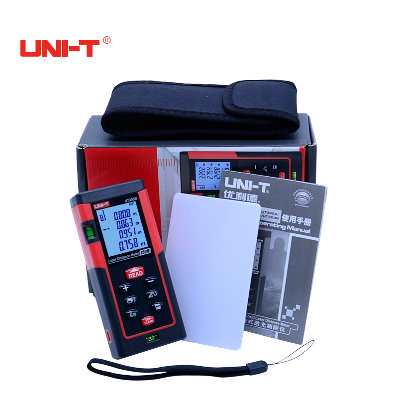 UNI-T UT393B Digital laser rangefinder 150m handheld high accuracy laser distance meter Measure Area/volume Tool with data hold hot high accuracy professional digital light meter 0 1 200 000lux lx1330b with data hold and peak reading hold function