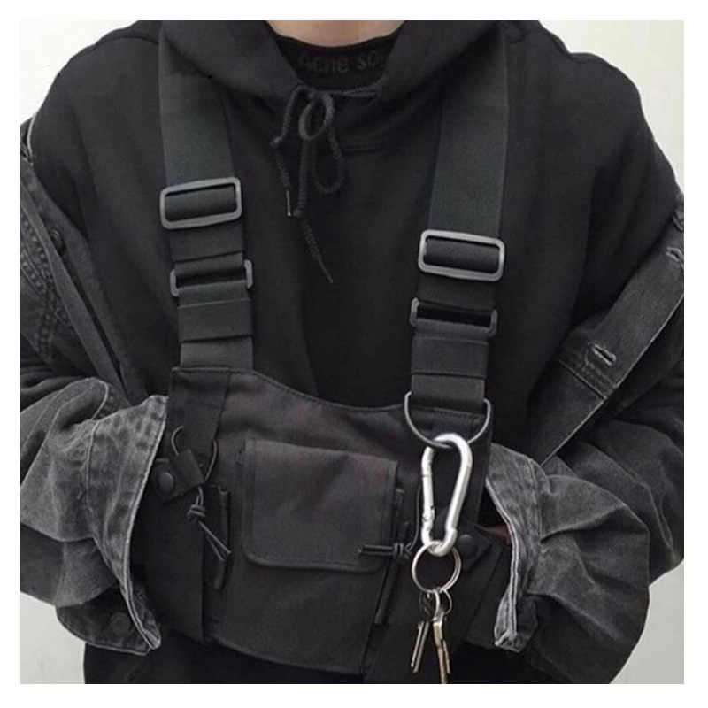 Dapat Disesuaikan Hitam Rompi Hip Hop Streetwear Fungsional Taktis Harness Dada Rig Kanye West Pinggang Pack Dada Tas Fashion Nylon C5