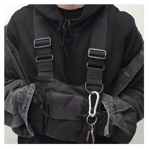 Image 5 - מתכוונן שחור אפוד היפ הופ Streetwear תפקודי טקטי לרתום חזה Rig Kanye West חבילת מותניים חזה תיק אופנה ניילון c5