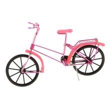 1:10 modelo de bicicleta de fundición a presión Vintage artesanal bicicleta decorativa de juguete rosa