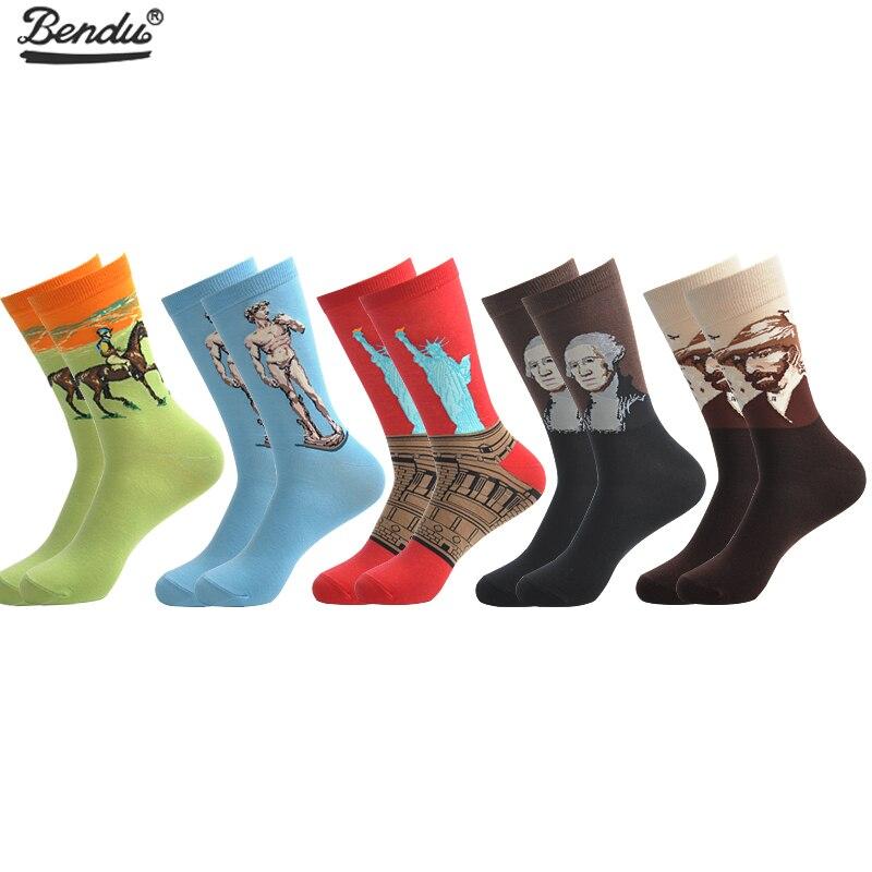 BENDU 5 Pairs/Lot Mens Socks Famous Oil Painting Funny Colorful Long Socks Cotton Happy Wedding Socks Casual Business Dress