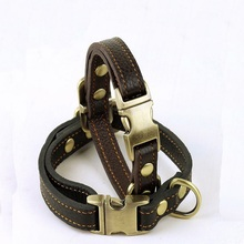 2017 Pet Adjustable Genuine Leather Collars For Small Medium Large Dogs Quick Release Basic Dog Collars Black Brown Colors