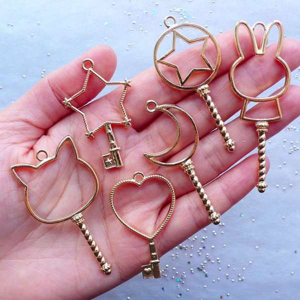 2bc10fcdc10f0 US $3.75 6% OFF|6 pcs mix Key Open Bezel Pendant | Magic Wand Open Bezel  Charm | Blank Charms for Kawaii UV Resin Crafts | Magical Girl Jewelry-in  DIY ...