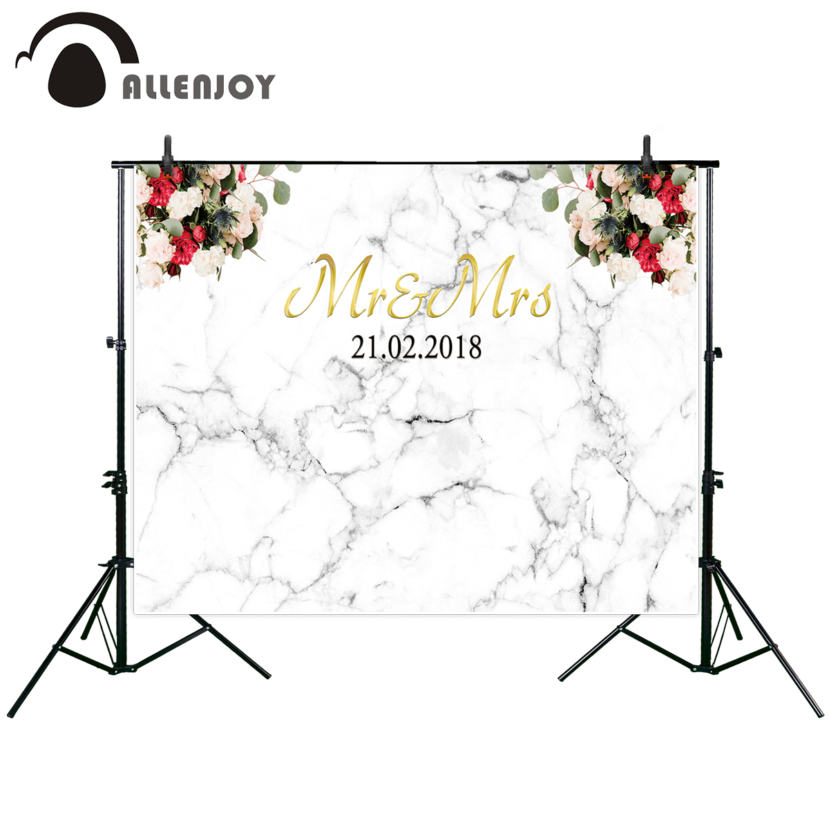 Allenjoy Wedding photography backdrop white marble bridal shower flower party Personal customization photo background photobooth der stechlin