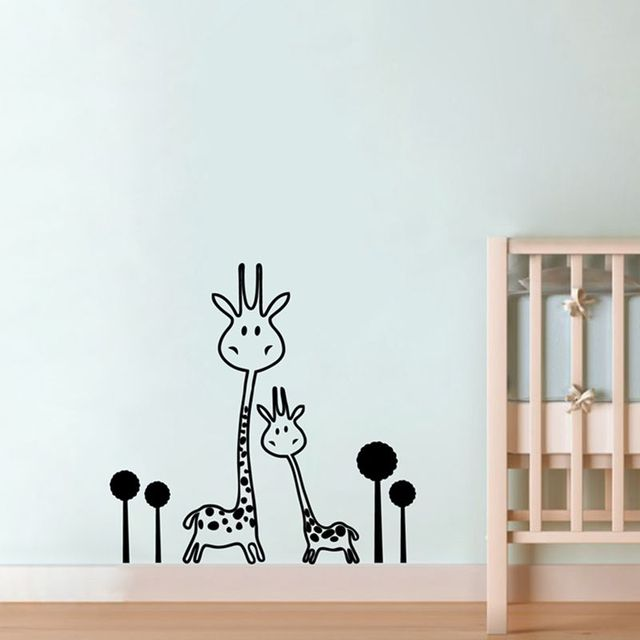 Vinyl Wall Decal Removable Giraffe Wall Sticker Baby Nursery   Animals    Two Cute Giraffes Wall