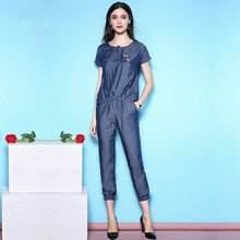 Summer suit female fashion two-piece new tencel denim t-shirt and jeans thin for women NW18B2653