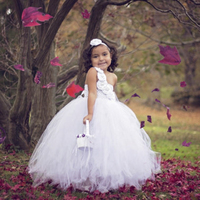 One Shoulder White Flower Girl Tutu Dress Children Birthday Wedding Photo Props Outfit Kids Casual Tulle Dresses with headband
