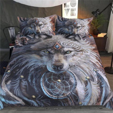 Fashion Design 3d Wolf Digital Printed Bedding set Quilt Cover Three-piece Bed Set Article Home Textiles