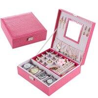 Women Jewelry Watch Box Pink Stripe Leather Wristwatch Display Case Box Rings Collection Storage Organizer Holder Box Case