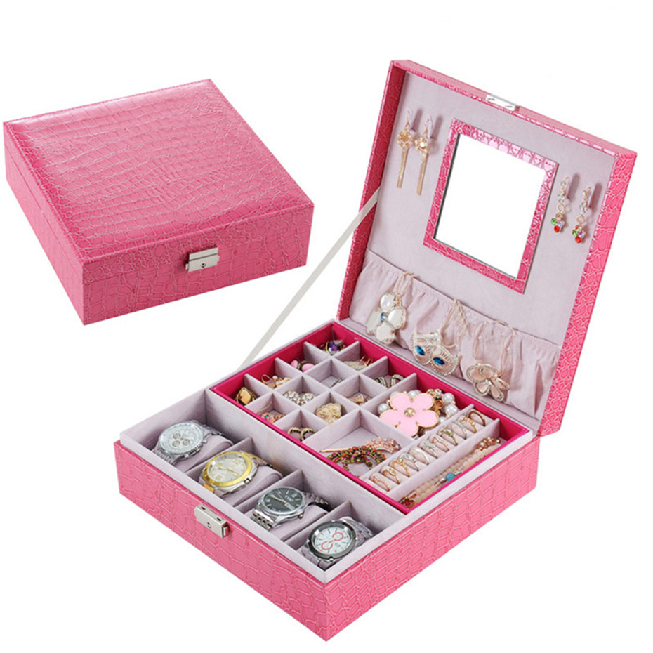 Women Jewelry Watch Box Pink Stripe Leather Wristwatch Display Case Box Rings Collection Storage Organizer Holder Box Case women jewelry watch box pink stripe leather wristwatch display case box rings collection storage organizer holder box case