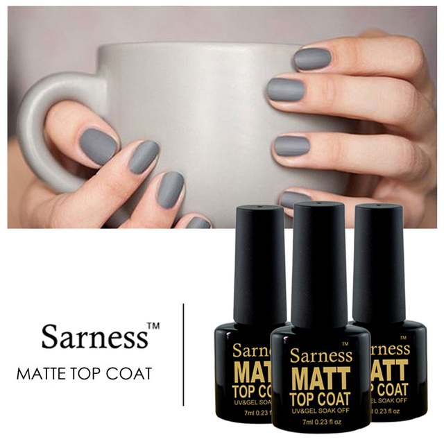 Sarness Matte Top Coat Gel Nail Polish Design Base No Sticky Layer Uv Led Lucky
