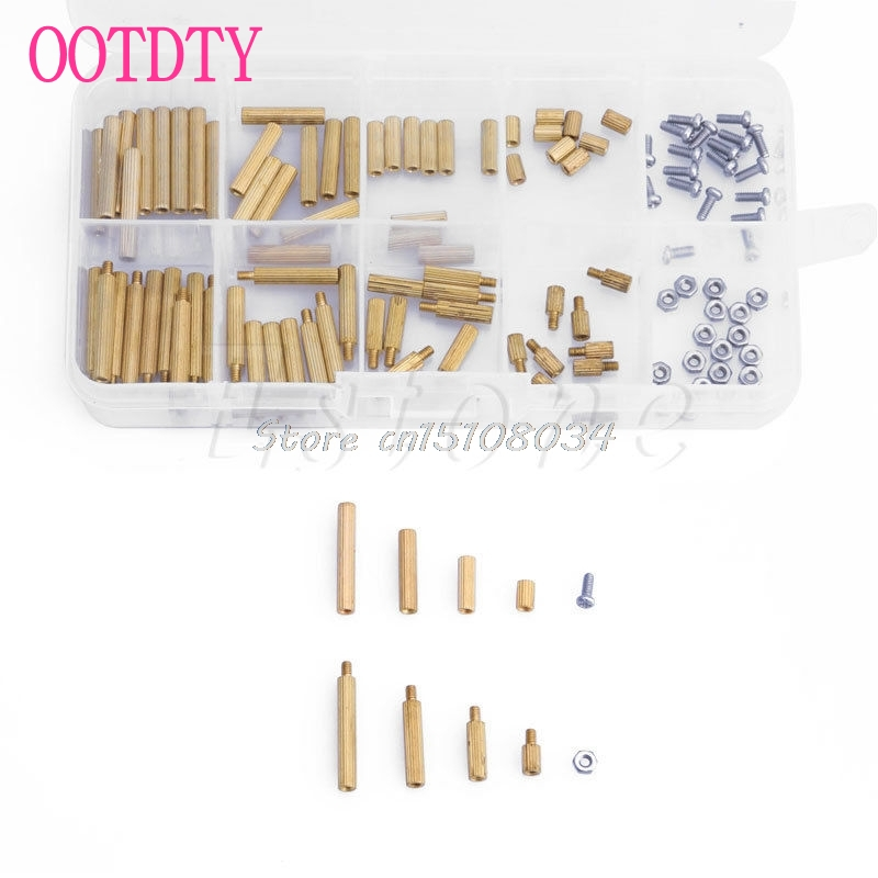 New Hot 120Pcs M2 Screw Nut Assortment Set Male Female Brass Spacers Standoff for PCB Board S08 Drop ship mtgather 270pcs set m2 3 25mm male to female brass pcb standoff screw nut assortment kit set hot sale