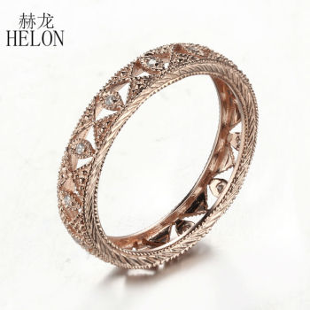HELON Real 10K Rose Gold Pave 0.1ct Genuine Natural Diamond Engagement Wedding Full Eternity Art Deco Antique Women Jewelry Ring image