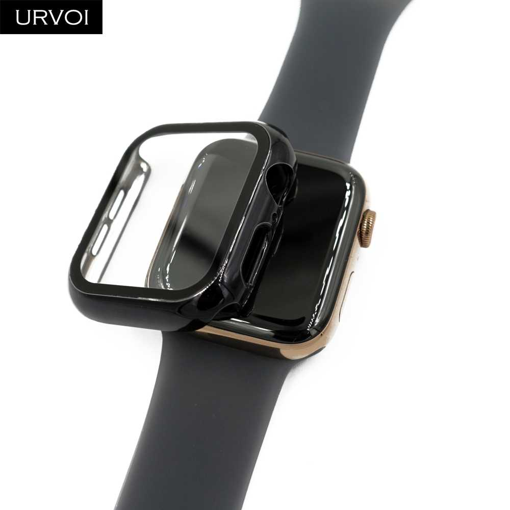 URVOI Full case for Apple Watch series 5 4 3 2 Plastic bumper hard frame cover with Tempered film for iWatch screen protector