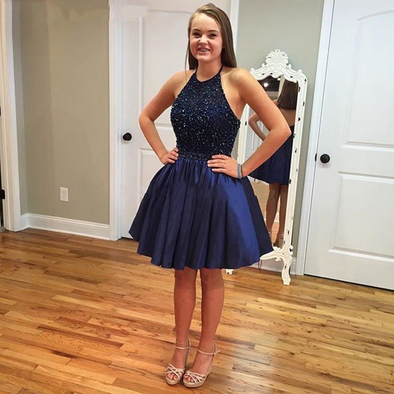 0e5b3f31d5e Sparkly Short A Line Open Back Halter Neck Girls Homecoming Dresses 2017  Navy Blue Prom Party Gown With Beaded Sequined