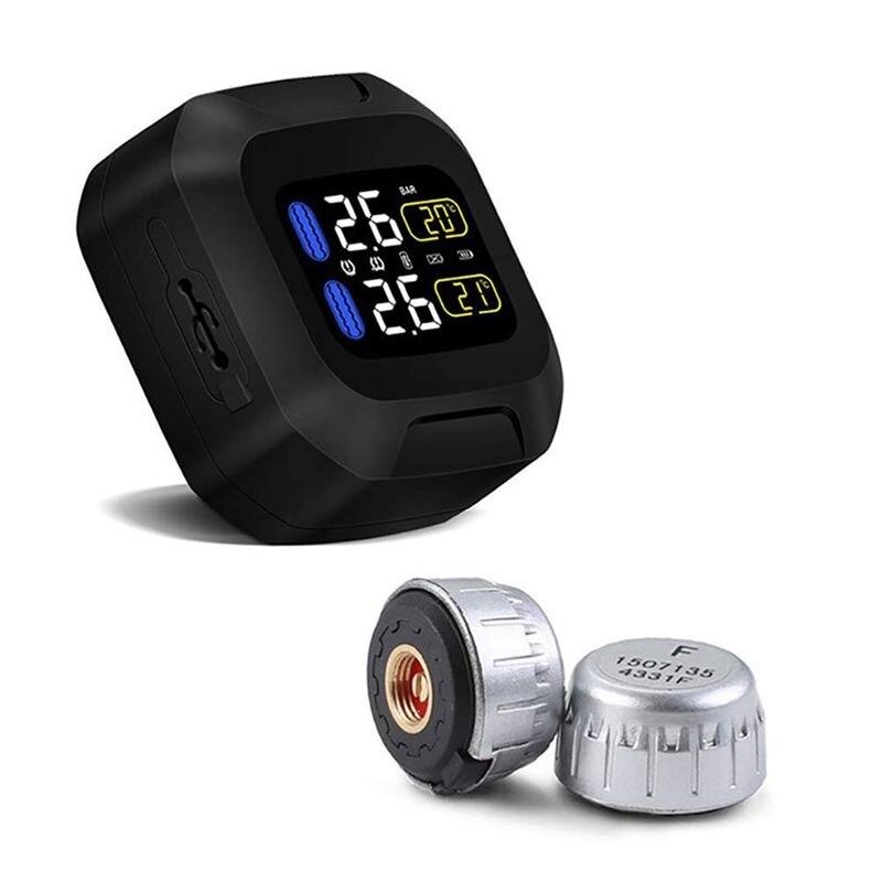 Surveillance sans fil de la pression des pneus moto rcycle pneu moto r alarme de pneu de voiture bande étanche 2 capteurs externes pour moto à deux roues