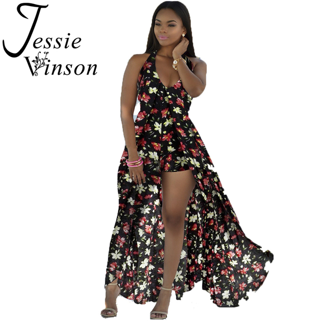 US $28.32 |Jessie Vinson Bohemian Print Halter Neck Split Maxi Dress Plus  Size Loose Tropical Print Backless Long Dress Beach Wear-in Dresses from ...