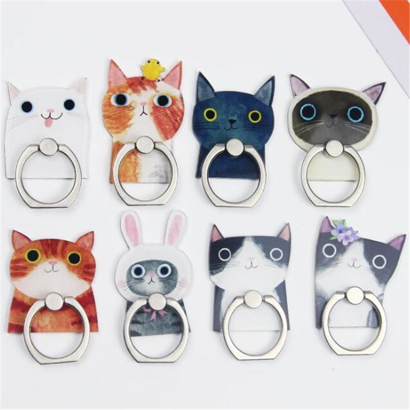 UVR 360 Degree Cartoon Cat Kitty Finger Ring Smartphone Stand Holder Mobile Phone Holder For IPhone Huawei All Phone