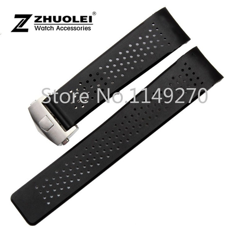 22mm 24mm New Men Silver Stainless Steel Deployment Watch buckle Black Diving Silicone Rubber Holes Watch Band Strap все цены