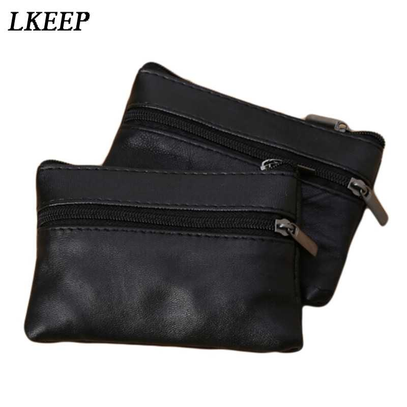 Men Women Card Coin Key Soft Holder Zip Leather Wallet Pouch Bag Purse Gift New Fashion Black Mini Coin Holders