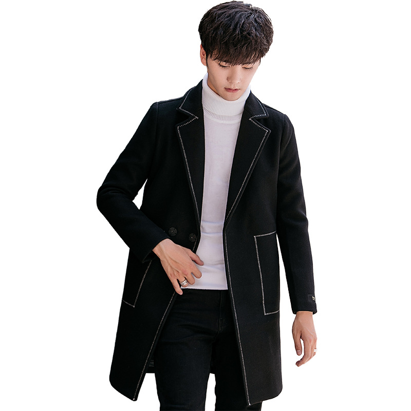 Abrigos Moda Breasted Invierno Manga caqui Casual Larga Y Chaqueta Negro De gris Sólido Lana Único Abrigo Suelto Hombres pFwqCUIn