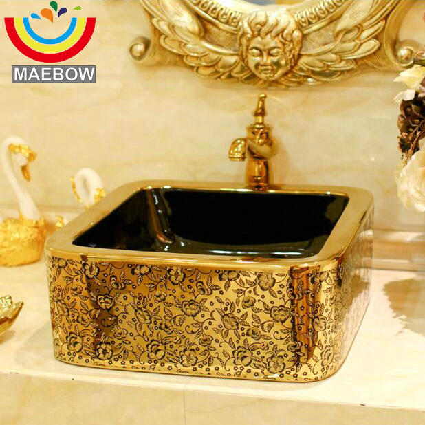 MAEBOW Gold Coating With Flower Decor Porcelain Wash Basin Ceramic  Countertop Bathroom Sink In Bathroom Sinks From Home Improvement On  Aliexpress.com ...