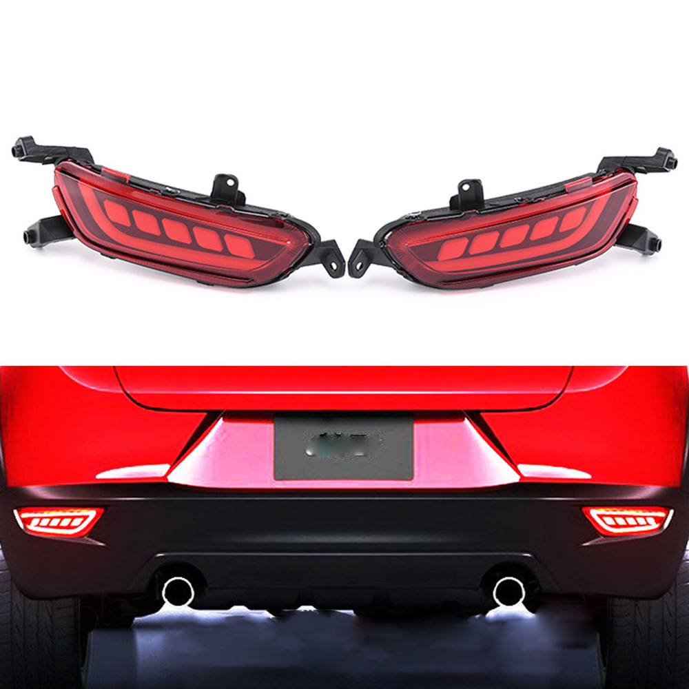 castaleca 1 pair 12V LED Reflector Rear Bumper Lights Brake Tail Lamp Red warning Taillight Fog Lamp for CX-3 CX3 2016 2017 dongzhen fit for nissan bluebird sylphy almera led red rear bumper reflectors light night running brake warning lights lamp