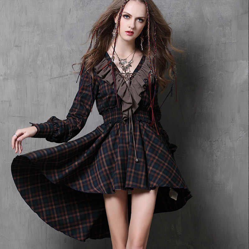Vestidos Femininos 2015 Yuzi осень новый урожай хлопка платье плед лоскутная v-образным вырезом оборками асимметричный женщины платья A6537