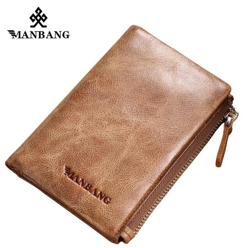 Manbang fashion vintage genuine leather wallet zipper bifold men wallets coin purse genuine cow leather vintage men wallet fashion zipper
