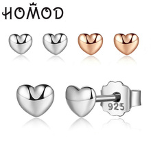 HOMOD Rose Gold & Silver Love Heart Womens Earrings Hot Sell Tiny for Women Fashion Brand Jewelry Wholesale
