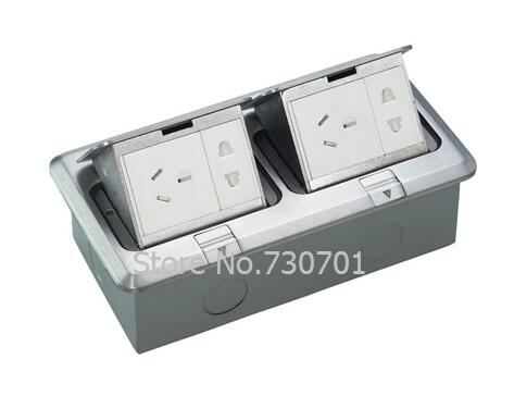2018 New Aluminum material silver floor mounted socket box with 2 *EU power + 2 *RJ45 POP UP SOCKET ,copper material available