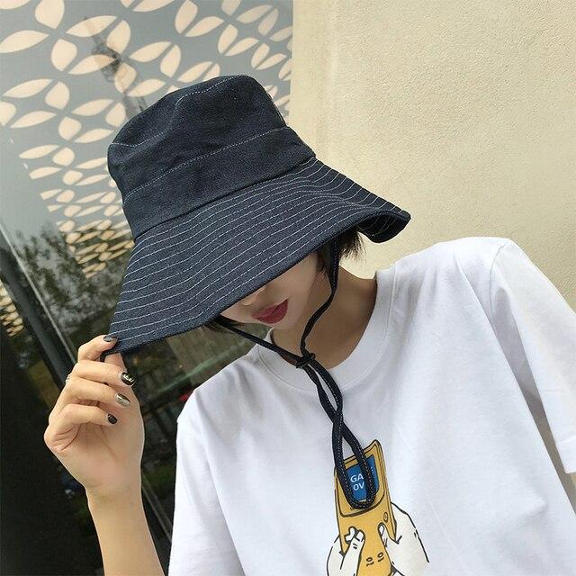 e20ec6c8fef2 HT1766 Vintage Retro Bucket Hats Cotton Denim Panama Fishing Hats Men Women  Wide Brim Sun Hats