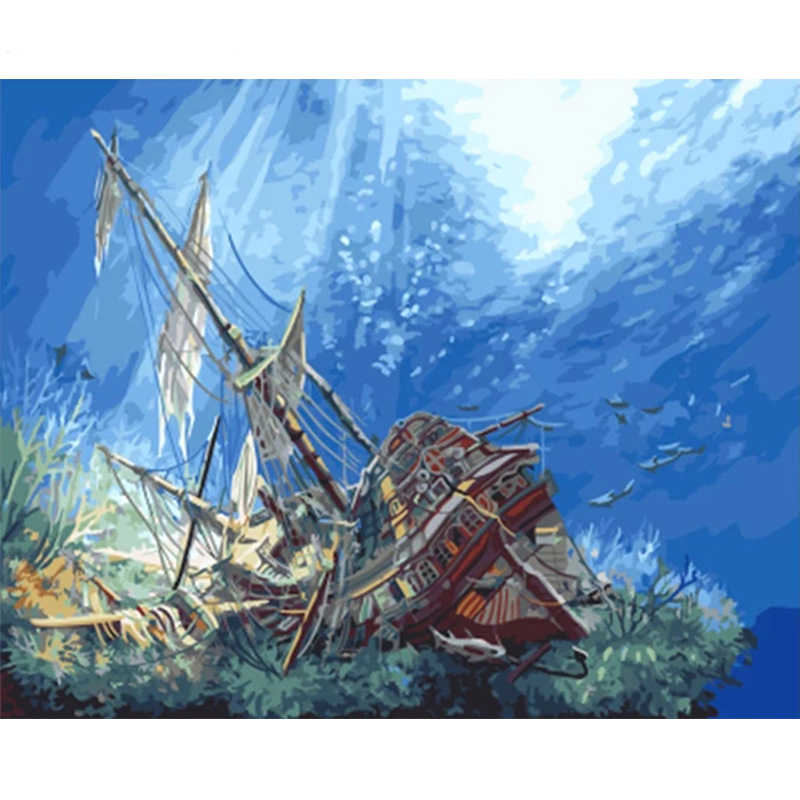 Ancient Shipwreck.40x50cm,Painting By Numbers,DIY,wall Art,Living Room Decoration,Scenery,Figure,Animal,Flower,Cartoon