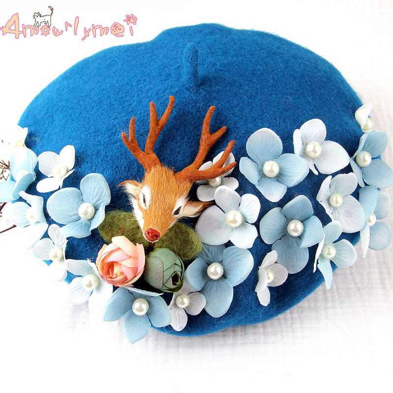 59bde6fa528ce Amourlymei High Quality Winter Hats For Women Flowers Wool Beret Hats  Japanese Style Mori Girl Lolita