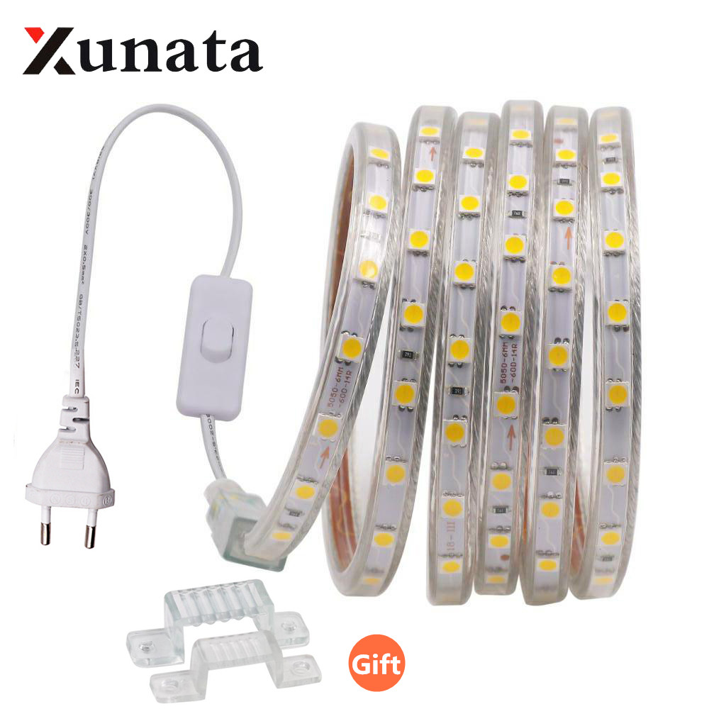 220V 5050 LED Light Strip Waterproof 60LEDs/m Flexible Ribbon Tape LED Strip With Switch EU UK Plug For Home Outdoor Decoration